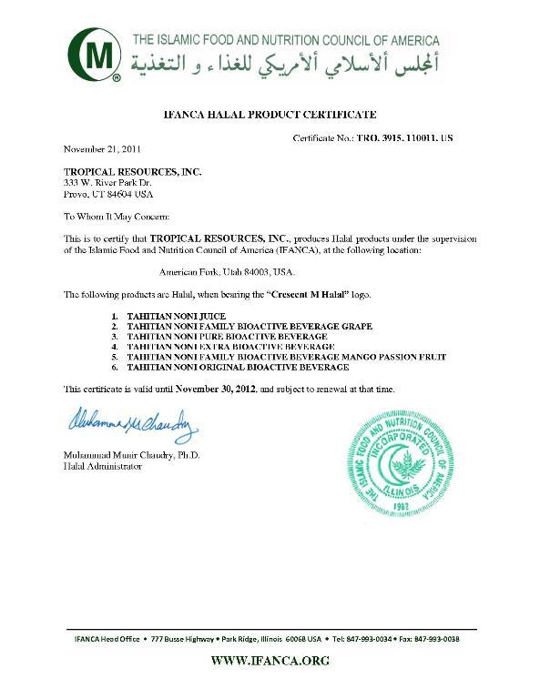 Sertifikat Halal IFANCA