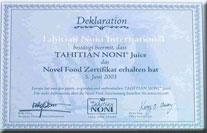 Sertifikat Novel Food Eropa